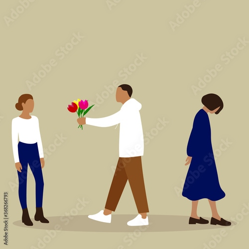 Cuadros en Lienzo A man leaves one woman and gives flowers to another woman