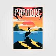 Paradise Beach Vintage Poster Vector Pelican Bird Illustration Design