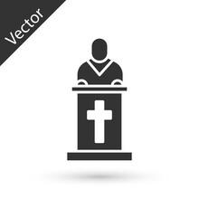 Grey Church Pastor Preaching I...