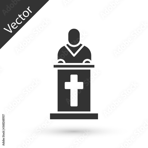 Obraz na plátně Grey Church pastor preaching icon isolated on white background