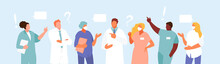Group Of Doctors Meeting And Discussion Vector Characters
