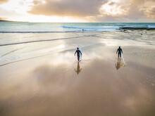 Two Surfers Walking On A Wet B...