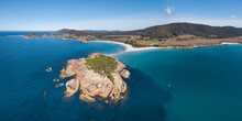 Aerial View Of A Rocky Island ...