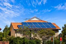 Large Solar Panels On Suburban...