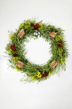 Wreath Of Native Plants And Flowers