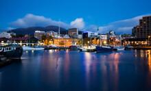 Hobart Docks In Predawn Light