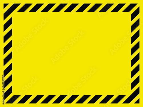 Black and yellow striped blank warning sign, 3:4 aspect ratio rectangular frame for your message or image Wallpaper Mural
