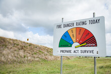 Fire Danger Rating Sign On Highest Indication, Catastrophic