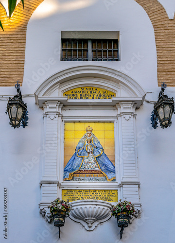 0000354 Ceramic altarpiece of the Plaza Virgen de los Reyes Seville Spain 2826 Canvas Print