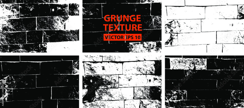 Fototapeta Bricks texture. Stone background.Grunge texture. Grunge black and white vector overlay. Grungy grainy surface.