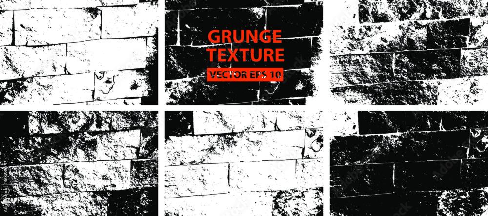 Fototapeta Bricks texture. Stone background.Grunge texture. Grunge black and white vector overlay. Grungy grainy surface.