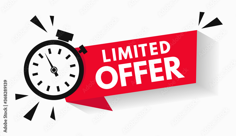 Fototapeta Last minute limited offer with clock for sale promo, button, logo or banner or red background. Hurry up sale label with time countdown for limited offer sale or exclusive deal. Special offer badge V2