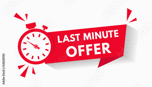 Fotografie, Obraz Last minute limited offer with clock for sale promo, button, logo or banner or red background