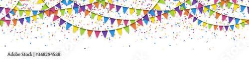 Obraz seamless colored garlands and confetti background - fototapety do salonu