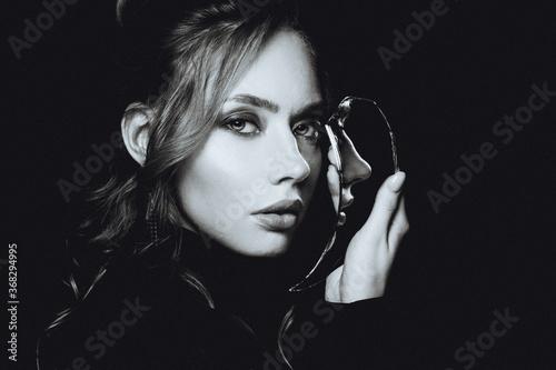 Attractive woman with broken self-image mirror, retro black and white portrait Fototapet