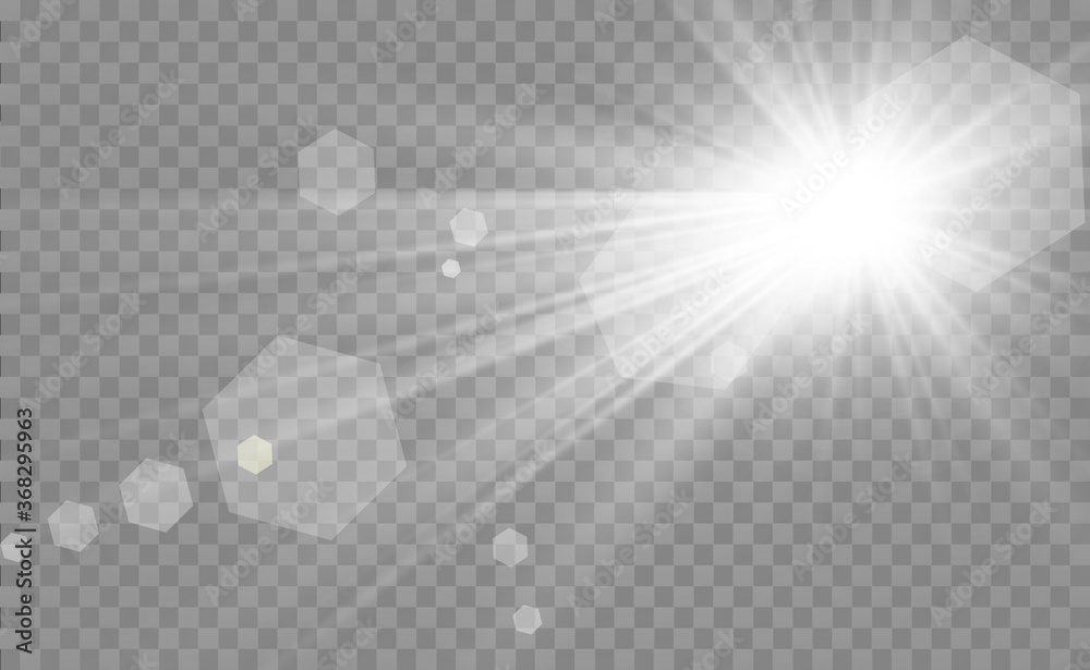 Fototapeta Special lens flash, light effect. The flash flashes rays and searchlight. illust.White glowing light. Beautiful star Light from the rays. The sun is backlit. Bright beautiful star. Sunlight. Glare. - obraz na płótnie
