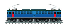 Freight Locomotive Train On The Railway Drawing In Vector
