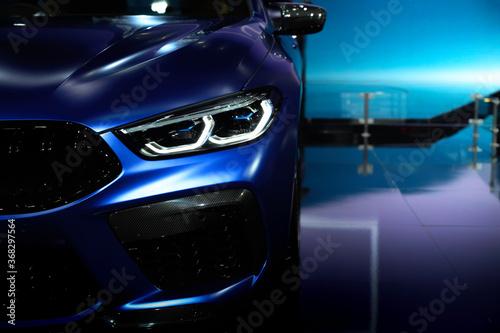 Fototapeta Front view of modern cars and general brands Future culture obraz na płótnie