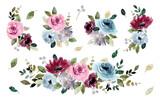 Fototapeta Kwiaty - pretty flower garden watercolor bouquet collection