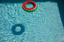 Watermelon Inflatable Ring In Sunny Blue Summer Swimming Pool