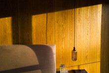 Sunlight Over Wood Paneling In...