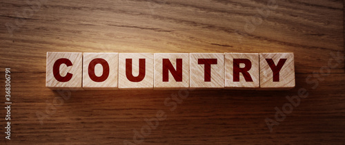 Country word on wooden cubes, geography economy concept Canvas-taulu