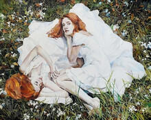 Two Girls With Red Hair Are Sleeping On The Grass In The Park. Oil Painting.