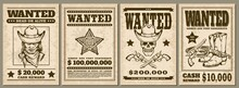 Set Of Vintage Western Cowboy Style Wanted Posters Sketch Vector Illustration.