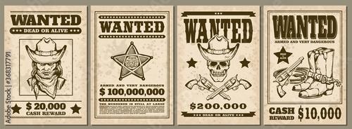 Fotografie, Obraz Set of vintage western cowboy style Wanted posters sketch vector illustration
