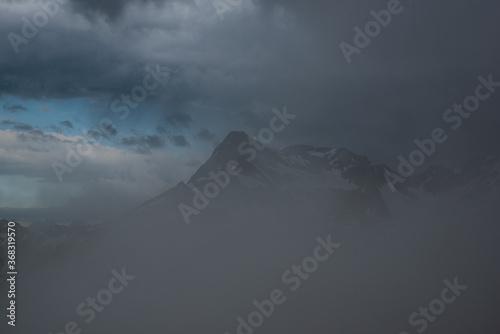 Berg im Nebel 2 Canvas Print