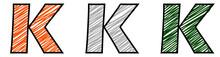 Set Of Tricolor Font Series: Letter K.vector Illustration.