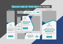 New Creative Corporate Technology With Blue Business Banner Ads, Web Banners Or Google Ads Banner Design Template