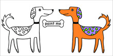 Paint Me Dogs. The Coloring Book Contains A Black And White Outline Drawing And A Colored Sample. Suitable For Applications Of Coloring Books, Stickers, Movie Posters, Jobs, Kids,