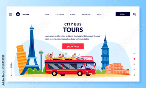 Fotografie, Obraz City bus tour in double decker, banner poster design template
