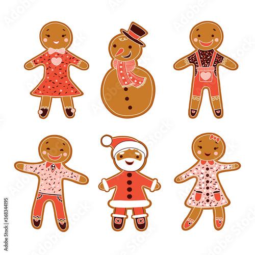 Six gingerbread figures