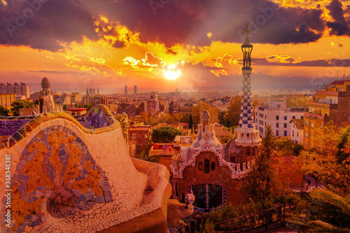 Fényképezés Panoramic view of Park Guell in Barcelona at sunset, Catalunya Spain
