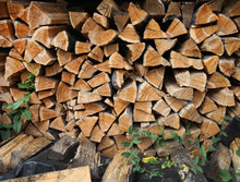Firewood From Chopped Logs Stacked Takes Up The Entire Frame