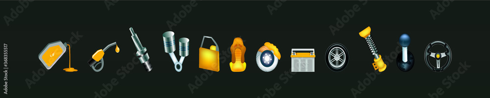 Fototapeta realistic car oil change icon set. isolated vector illustration on black background