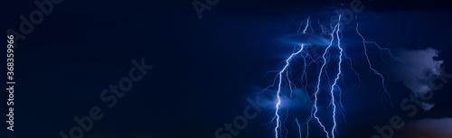 Leinwand Poster Beautiful lightning flash at night