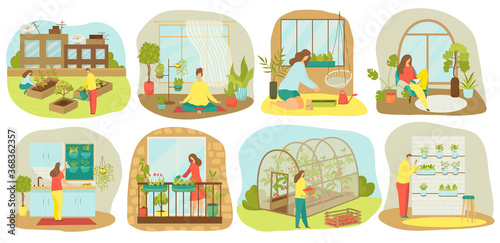 Urban gardening, plants and vegetables or agriculture set of vector illustrations. Planting garden on balcony, in kitchen, wooden seedbeds, vertical and roof farming and hydroponics, urban garden. - fototapety na wymiar
