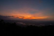Beautiful Mountain View With Fog, Sunrise Scene, Doi Samer Dao Mountain In Nan Province, Thailand