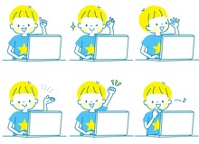 パソコンで勉強する男の子の表情セット