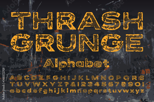 Thrash Grunge Industrial Alphabet; Heavily Scratched and Worn Paint Effects on Extended Sans Serif Lettering Wallpaper Mural