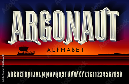 Canvas A Tall Carved Marble Effect Alphabet; Argonaut is a Lettering Style Suggestive of Ancient Greek Mythology