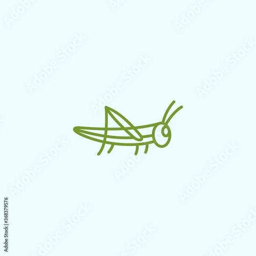 Cuadros en Lienzo grasshopper logo vector silhouette icon