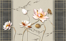 3d Illustration, Gray Wooden Frames And Large Pink Gilded Water Lilies On A Beige Background