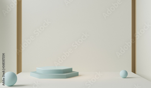 Fototapeta Minimal scene with podium and abstract background. Pastel blue and cream colors scene. Trendy 3d render for social media banners, promotion, cosmetic product show. Stage for fashion on website. obraz na płótnie