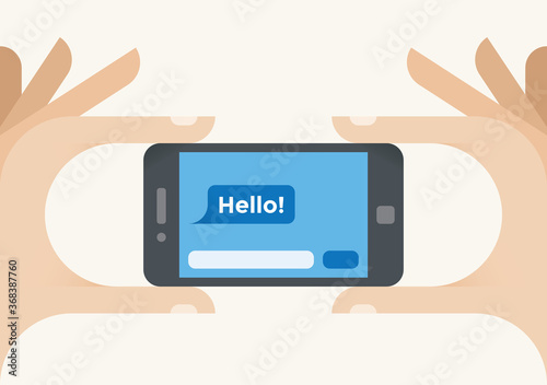 Hello! chat social media (Facebook messenger, Whatsapp, Wechat, QQ) message on mobile smartphone screen in human hands Fototapet