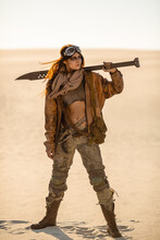 Post-apocalyptic Woman Outdoor...