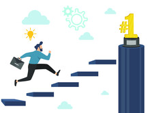 Business People Concepts For Success. Businessman Speed Up Running Up The Stairs To The Gold Trophy NUMBER ONE Icon. Vector Illustration.